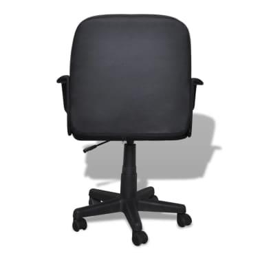 Luxury Leather Office Chair Height Adjustable Swivel Black[3/4]