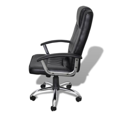 Luxury Office Chair Height Adjustable Swivel Seat Black[3/5]