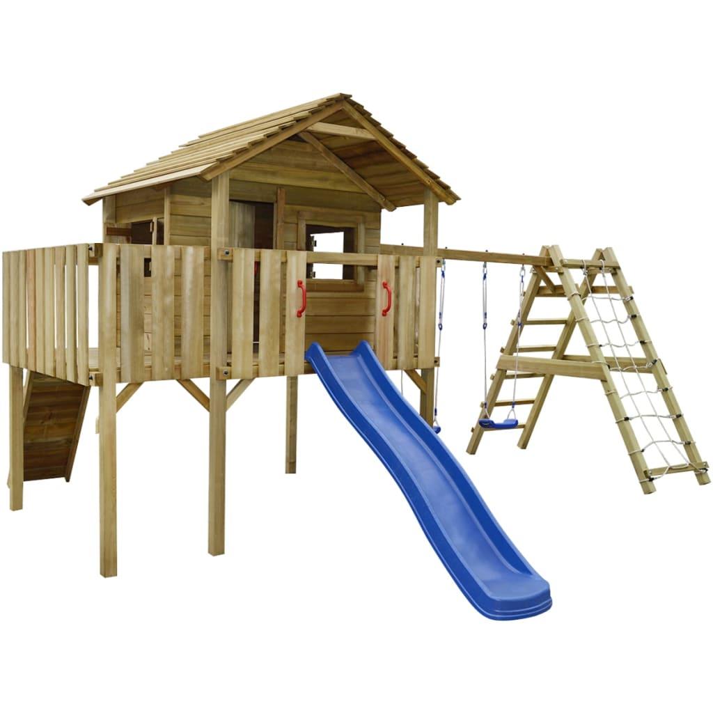Dřevěné dětské hřiště, šplhací síť, skluzavka, houpačky 560x440x294 cm