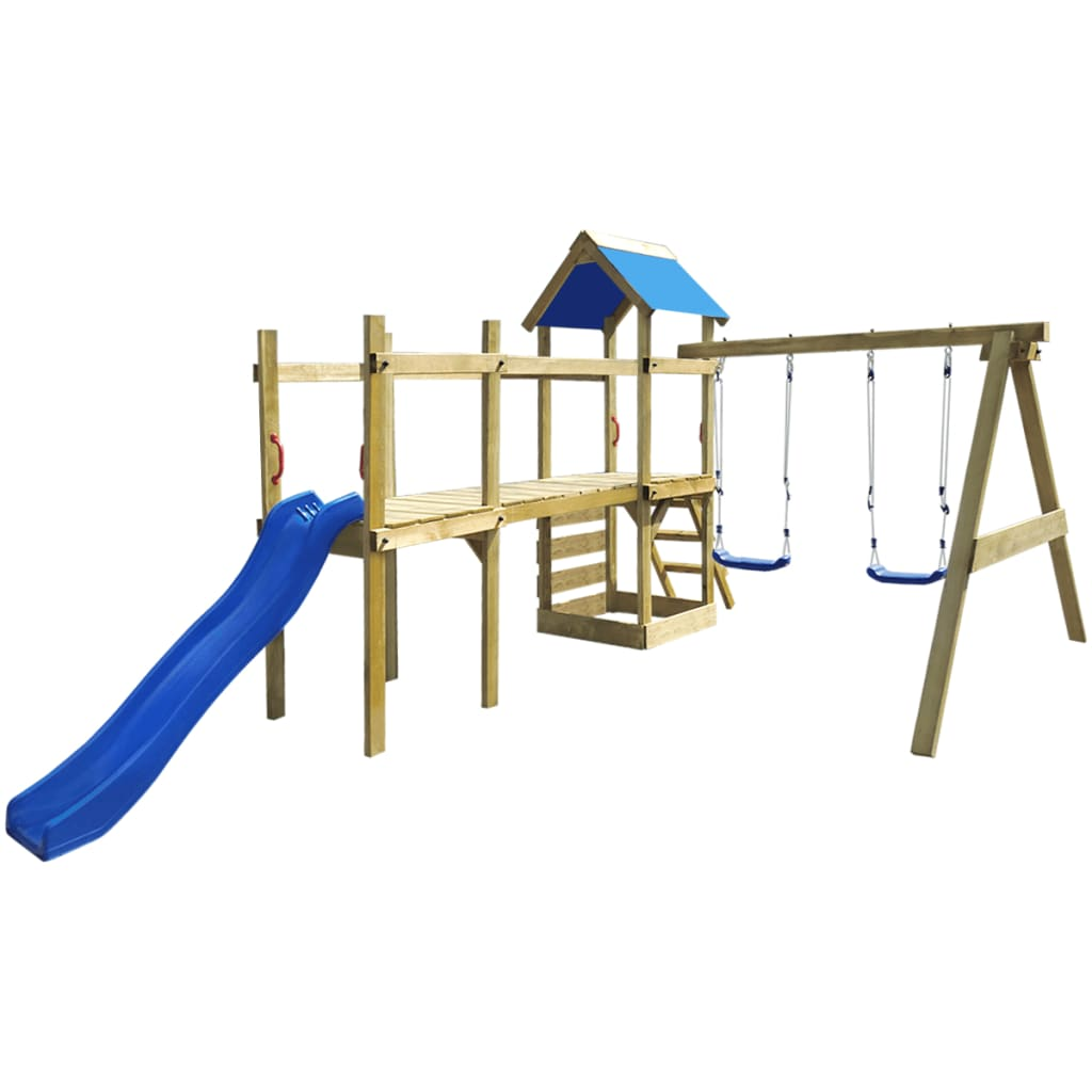 Dřevěný set dětské hřiště, žebřík, skluzavka, houpačky 463x275x243 cm