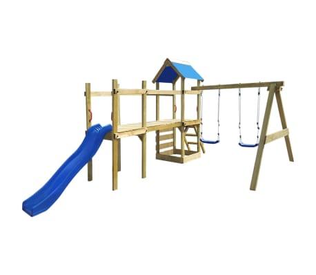 vidaXL Aire de jeu, échelle, toboggan, balançoires Bois 463x275x243 cm 1  e3f0ba84a64b