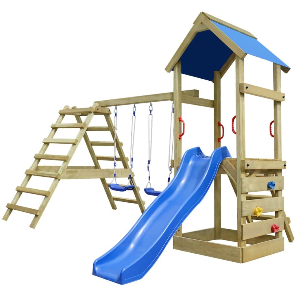 Dřevěný set dětské hřiště, žebřík, skluzavka, houpačky 356x255x242 cm