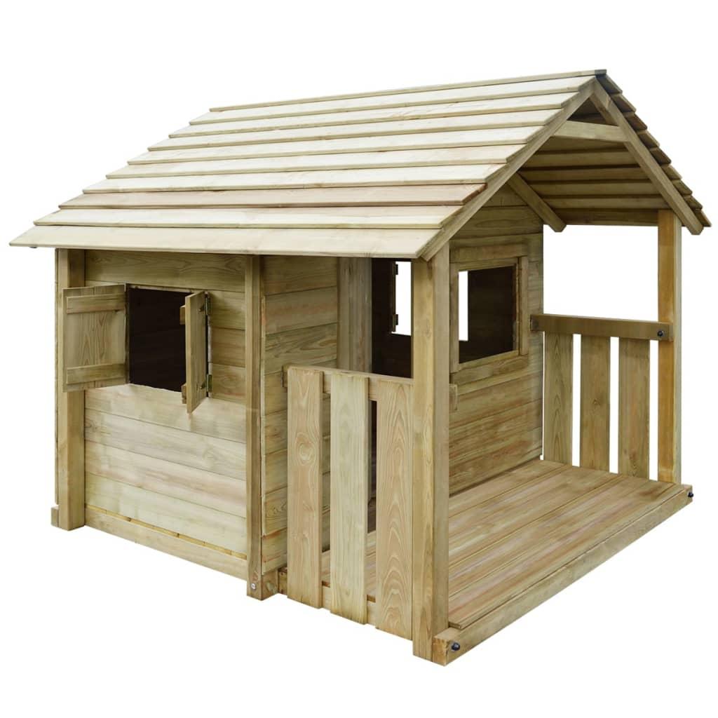 Căsuţă joacă din lemn cu 3 ferestre poza vidaxl.ro