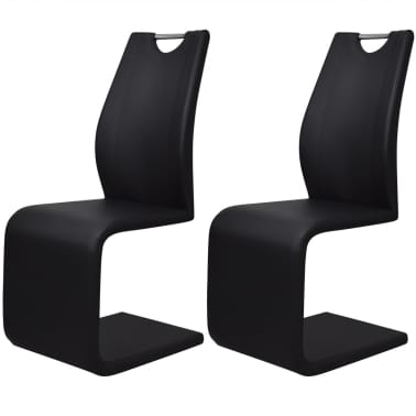 vidaXL Dining Chairs 2 pcs Cantilever Artificial Leather Black[1/5]