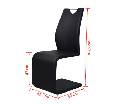 vidaXL Dining Chairs 2 pcs Cantilever Artificial Leather Black[5/5]