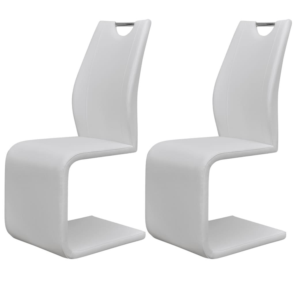 vidaXL Jídelní židle 2 ks konzolové umělá kůže bílá