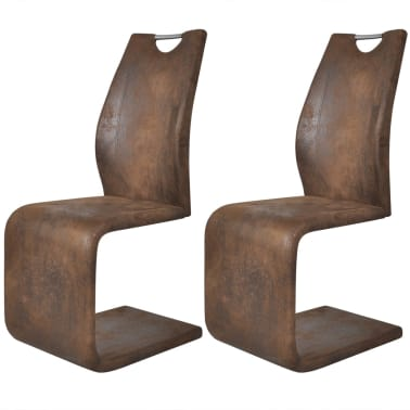 vidaXL Dining Chairs 2 pcs Cantilever Artificial Leather Brown[1/5]