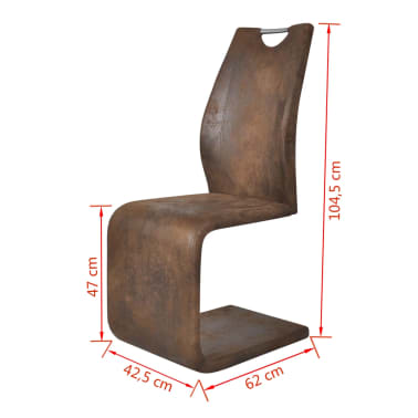 vidaXL Dining Chairs 2 pcs Cantilever Artificial Leather Brown[5/5]