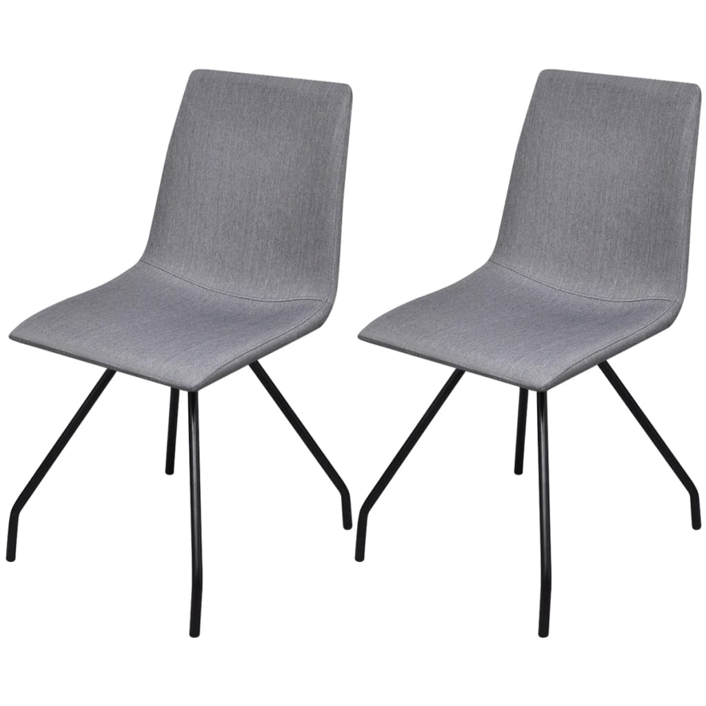vidaXL Καρέκλες Τραπεζαρίας 2 τεμ Ανοιχτό Γκρι Ύφασμα/Σιδερένια Πόδια