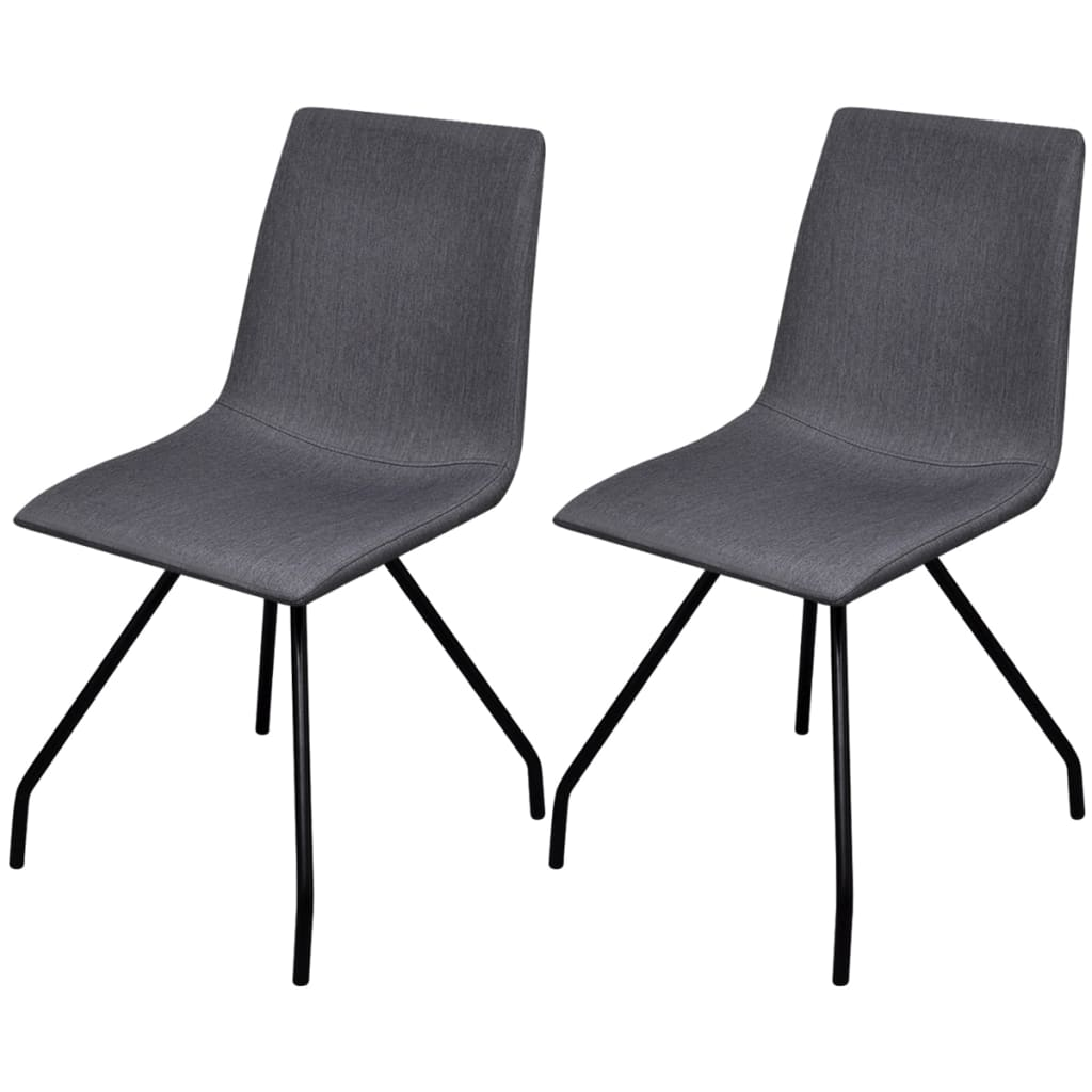 vidaXL 2 Fabric Dining Chairs with Iron Legs Dark Grey