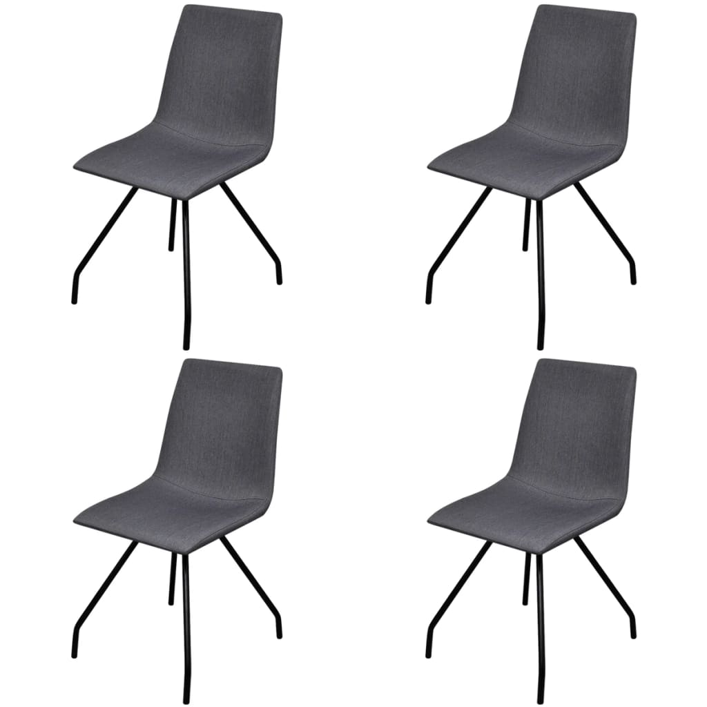 vidaXL 4 Fabric Dining Chairs with Iron Legs Dark Grey