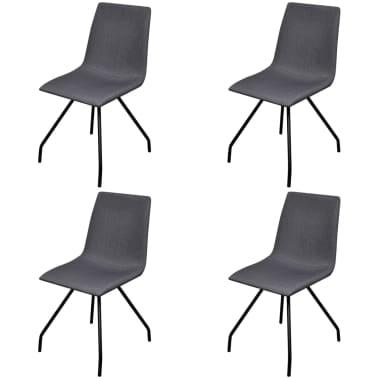 vidaXL Dining Chairs 4 pcs with Iron Legs Fabric Dark Grey[1/7]
