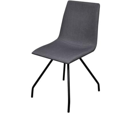 vidaXL Dining Chairs 4 pcs with Iron Legs Fabric Dark Grey[3/7]