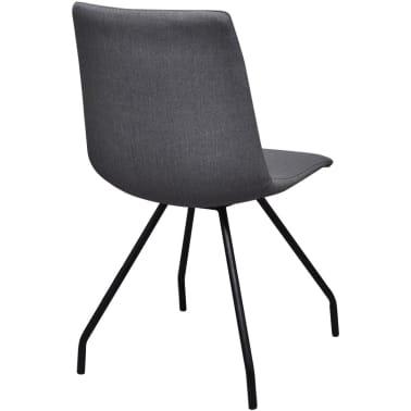 vidaXL Dining Chairs 4 pcs with Iron Legs Fabric Dark Grey[5/7]