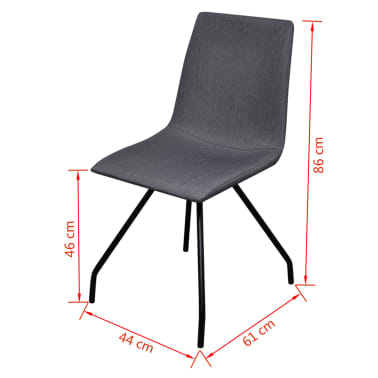 vidaXL Dining Chairs 4 pcs with Iron Legs Fabric Dark Grey[7/7]