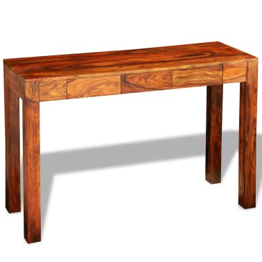 vidaXL Console Table with 3 Drawers 80 cm Solid Sheesham Wood[3/9]