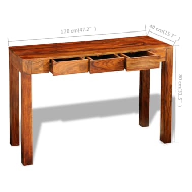 vidaXL Console Table with 3 Drawers 80 cm Solid Sheesham Wood[9/9]