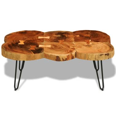 vidaXL Table basse 35 cm 6 troncs Bois massif de Sesham[2/9]