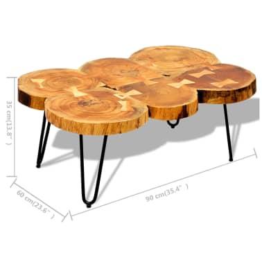 vidaXL Table basse 35 cm 6 troncs Bois massif de Sesham[9/9]