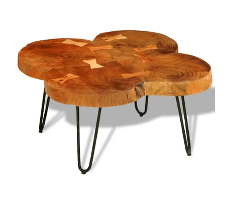 vidaXL Table basse 35 cm 4 troncs Bois massif de Sesham[1/9]