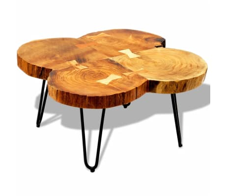 vidaXL Table basse 35 cm 4 troncs Bois massif de Sesham[3/9]