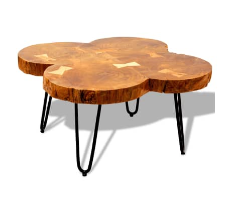 vidaXL Table basse 35 cm 4 troncs Bois massif de Sesham[4/9]