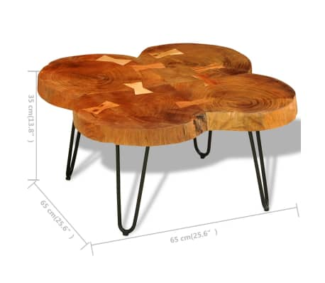 vidaXL Table basse 35 cm 4 troncs Bois massif de Sesham[9/9]