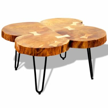vidaXL Table basse 35 cm 4 troncs Bois massif de Sesham[5/9]