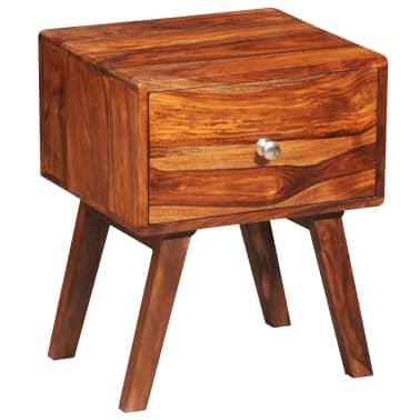 vidaXL Table de chevet avec 1 tiroir 55 cm Bois massif de Sesham[1/6]
