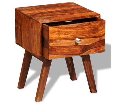 vidaXL Table de chevet avec 1 tiroir 55 cm Bois massif de Sesham[3/6]