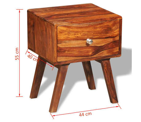vidaXL Table de chevet avec 1 tiroir 55 cm Bois massif de Sesham[6/6]