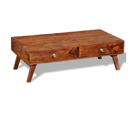 vidaXL Konferenční stolek se 4 zásuvkami 35 cm masivní mangovník