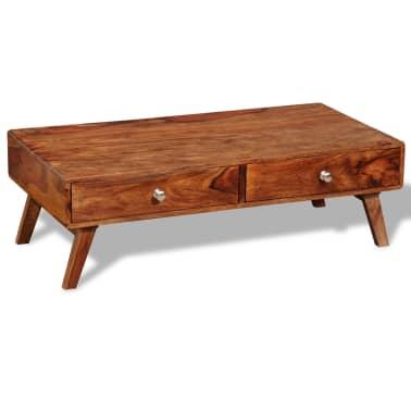 vidaXL Stolik kawowy z 4 szufladami, lite drewno sheesham, wys. 35 cm[1/11]