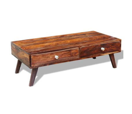 Acheter Vidaxl Table Basse Avec 4 Tiroirs 35 Cm Bois Massif De