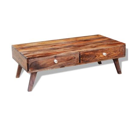 vidaXL Stolik kawowy z 4 szufladami, lite drewno sheesham, wys. 35 cm[10/11]