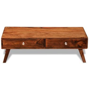 vidaXL Măsuță de cafea cu 4 sertare, 35 cm, lemn masiv de sheesham[2/11]