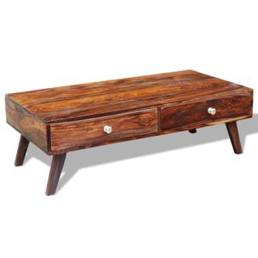 vidaXL Stolik kawowy z 4 szufladami, lite drewno sheesham, wys. 35 cm[11/11]