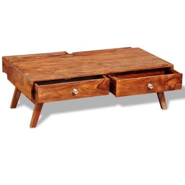 vidaXL Stolik kawowy z 4 szufladami, lite drewno sheesham, wys. 35 cm[3/11]