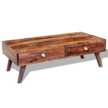 vidaXL Stolik kawowy z 4 szufladami, lite drewno sheesham, wys. 35 cm[9/11]