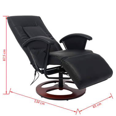 vidaxl fauteuil de massage shiatsu demi pu noir. Black Bedroom Furniture Sets. Home Design Ideas