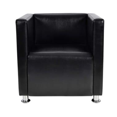 Black Artificial Leather Club Armchair Modern Tub Design[2/4]