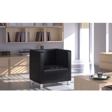 Black Artificial Leather Club Armchair Modern Tub Design[3/4]