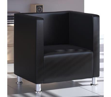 Black Artificial Leather Club Armchair Modern Tub Design[1/4]
