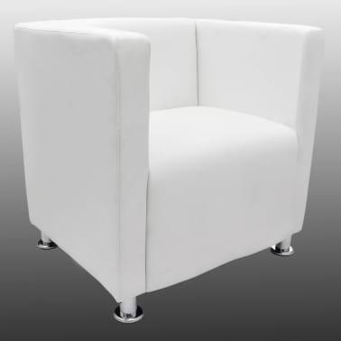 White Artificial Leather Club Armchair Modern Tub Design[3/4]