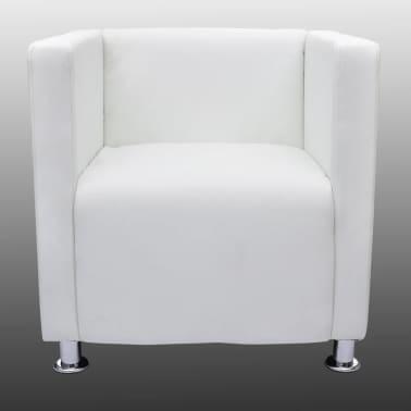 White Artificial Leather Club Armchair Modern Tub Design[4/4]