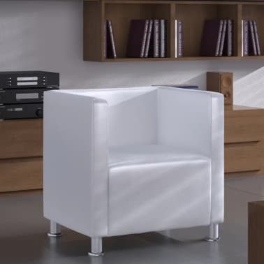 White Artificial Leather Club Armchair Modern Tub Design[1/4]