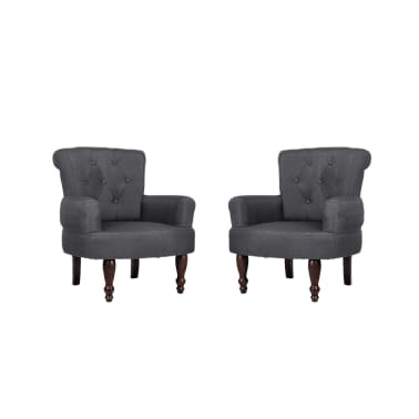 2 French Style Chairs With Armrest Gray[2/9]
