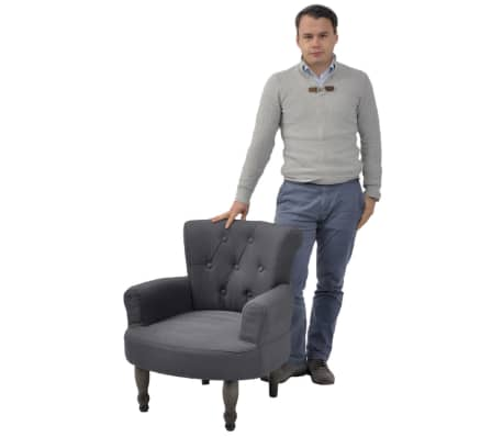 2 French Style Chairs With Armrest Gray[3/9]