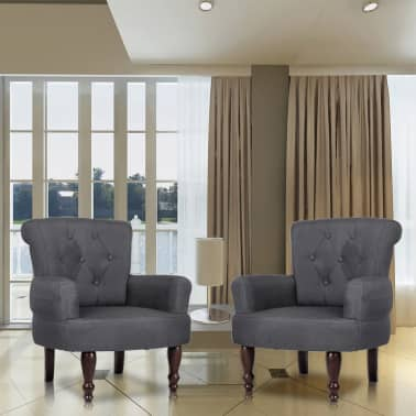 2 French Style Chairs With Armrest Gray[1/9]