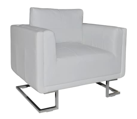 vidaXL Cube Armchair White Leather